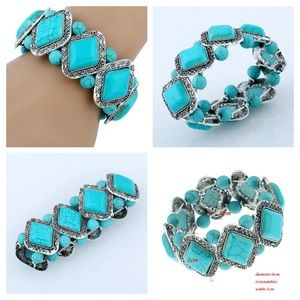 🌸 Turquoise stone and silver stretch bracelet